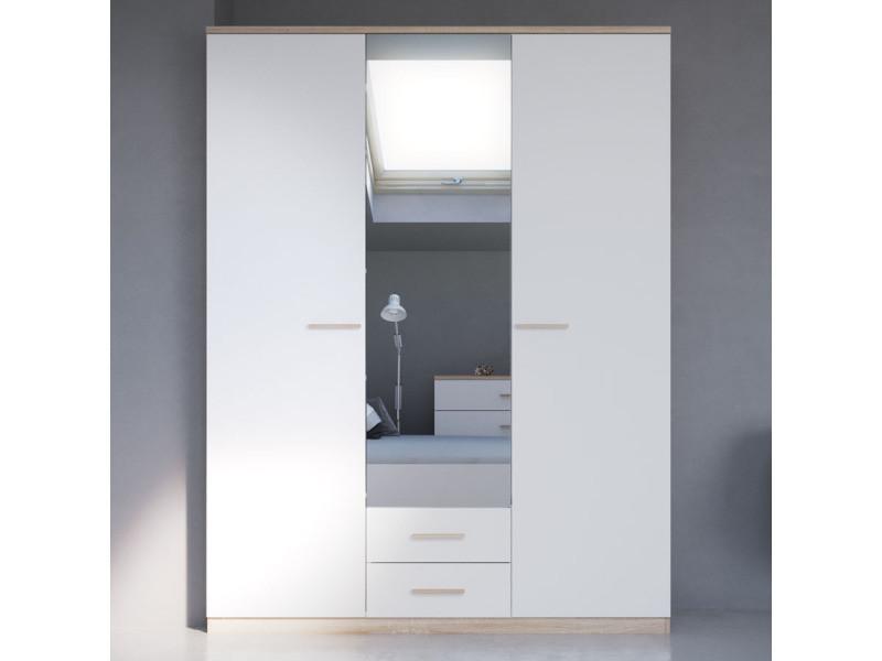 Armoire 3 portes coloris blanc et naturel lena