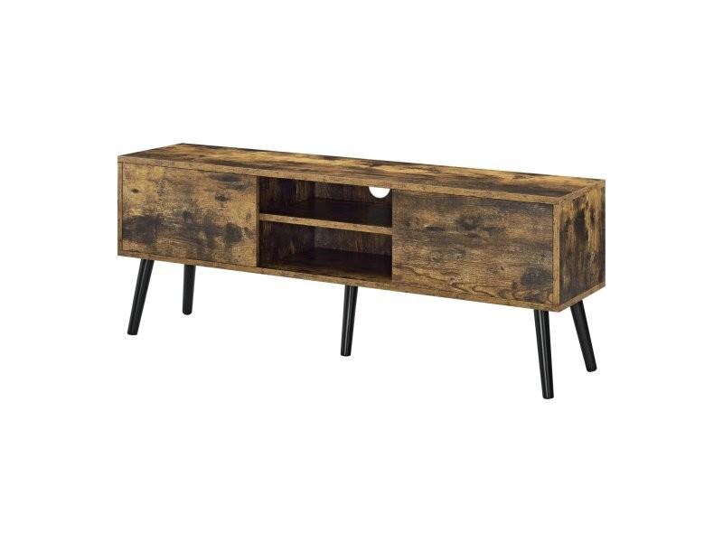 Meuble tv design support télé avec 2 portes et 2 étagères revêtement pvc 120 x 30 x 47 cm bois foncé noir helloshop26 03_0005862