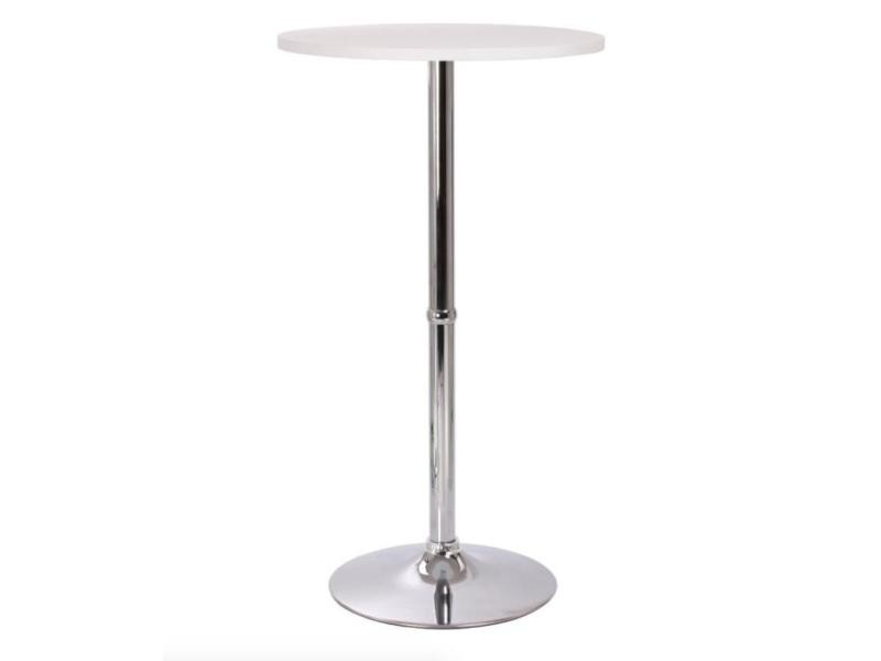 Table haute mange debout bar bistrot mdf diamètre 60 cm blanche 2009008 helloshop26 2009008/2