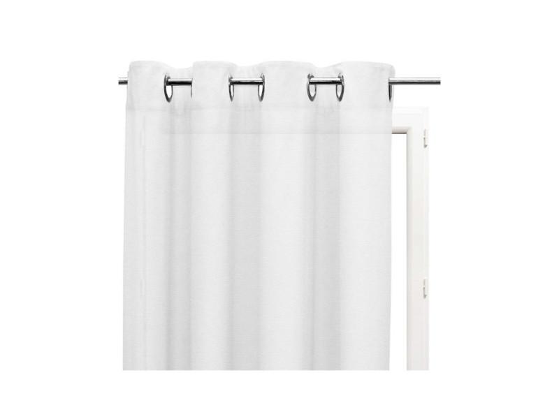 Voilage en coton avec oeillets 140x240 cm panama blanc