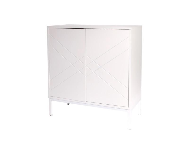 commode blanche 2 portes vente de the concept factory conforama. Black Bedroom Furniture Sets. Home Design Ideas