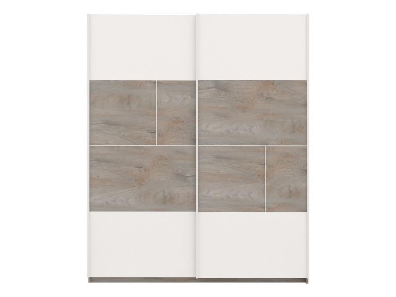 Armoire 2 portes coulissantes chêne délavé/blanc mat - florine - l 180 x l 61 x h 215 - neuf
