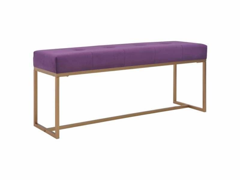 Banquette pouf tabouret meuble banc 120 cm violet velours helloshop26 3002099
