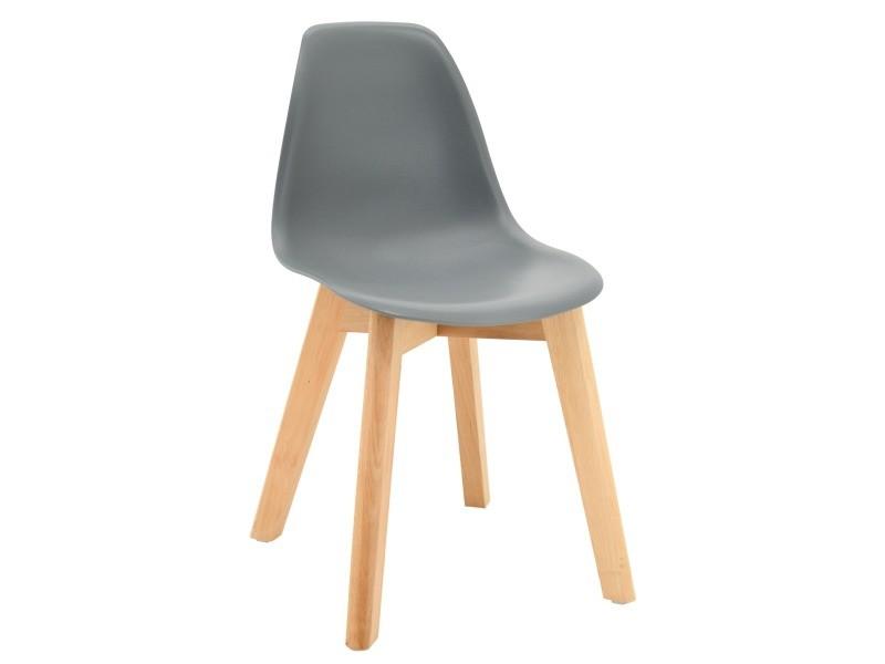 Chaise enfant polypropylène et bois gris