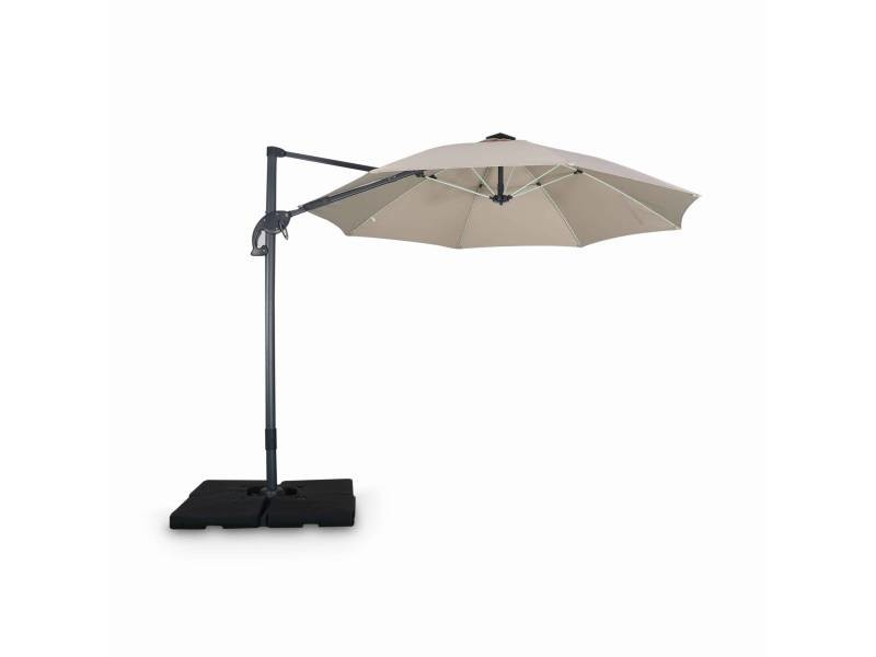 Parasol led déporté rond ø300 cm – dinard – beige – parasol exporté, inclinable, rabattable et rotatif à 360°, baleines en fibre de verre