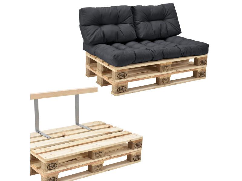 [en.casa] canapé de palette euro- 2-siège avec coussins- [gris foncé] kit complète incl. Dossier