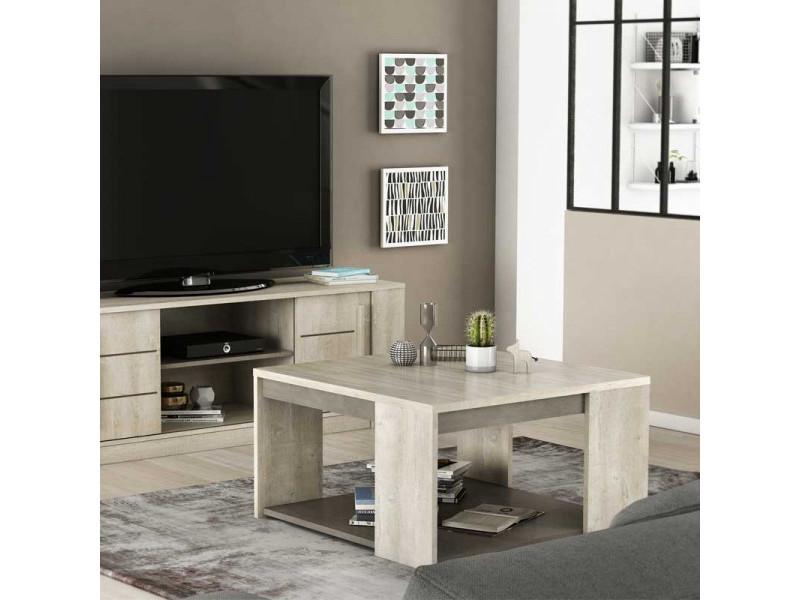 Table basse carrée double plateaux - lyon - l 80 x l 80 x h 44 cm