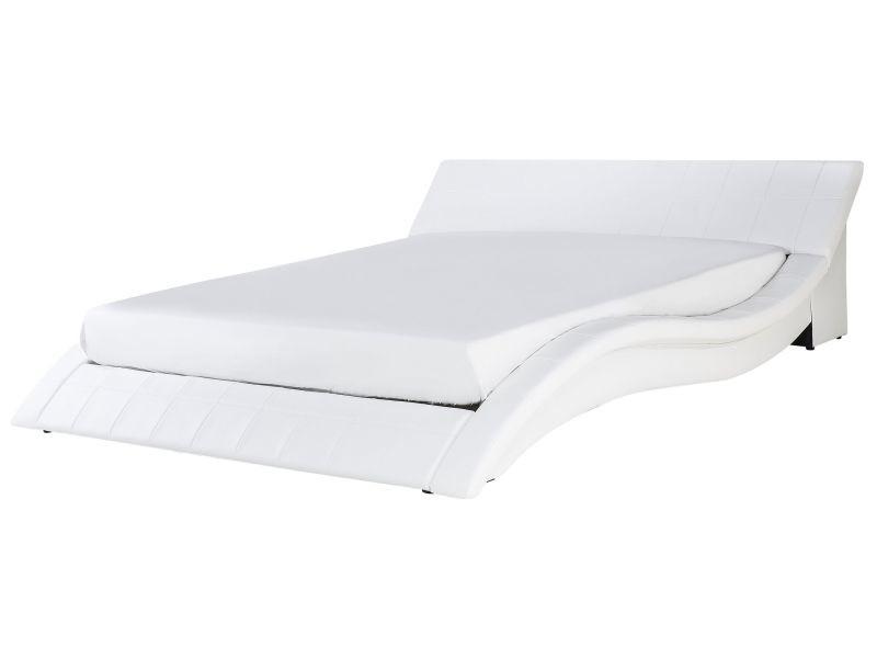 Lit double design en cuir blanc 180 x 200 cm vichy 13656