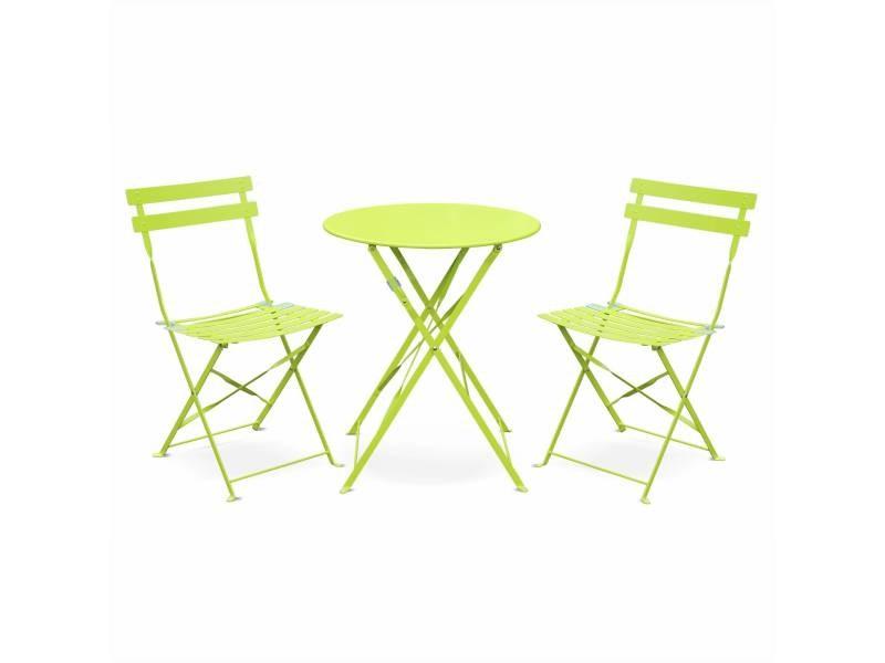 Salon de jardin bistrot pliable emilia rond vert anis, table ⌀60cm ...