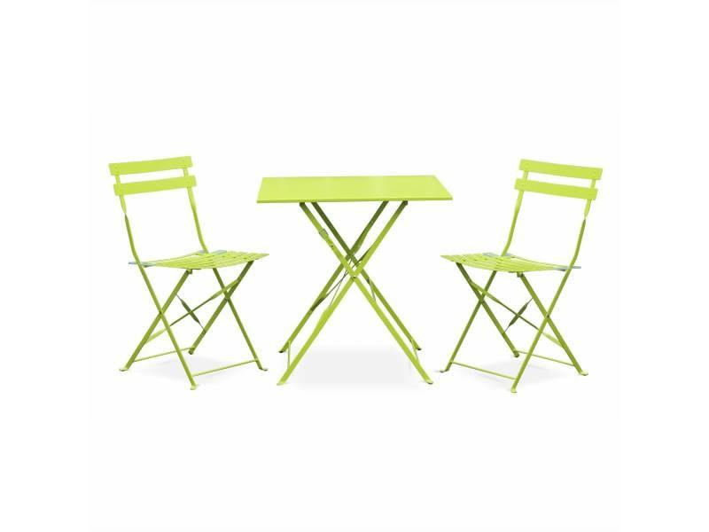 Bistrot Vert De Jardin Deux Carré Anis Salon Avec Pliable Emilia rsQthd