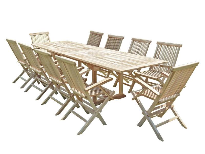 Ensemble salon de jardin en teck batan 10 fauteuils pliants