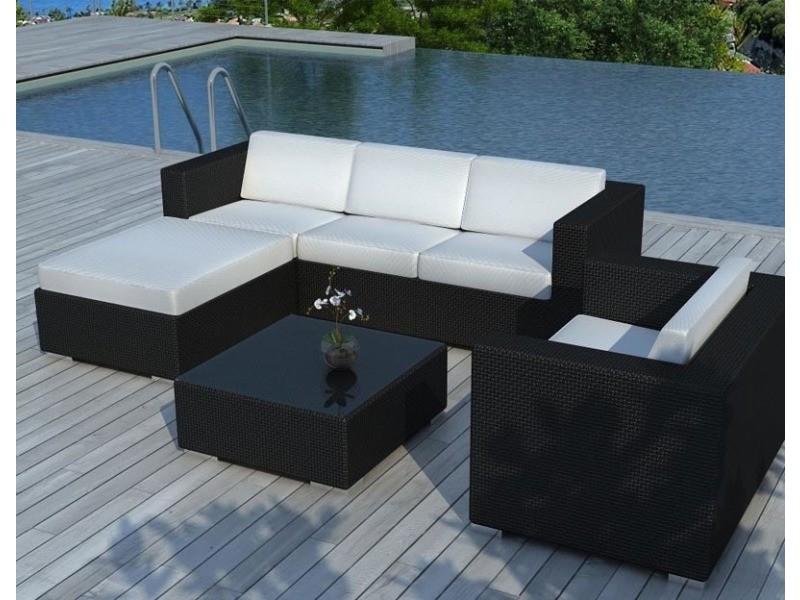 Salon de jardin resine tressée noire/ecru - copacabana SD8201-BLACK ...
