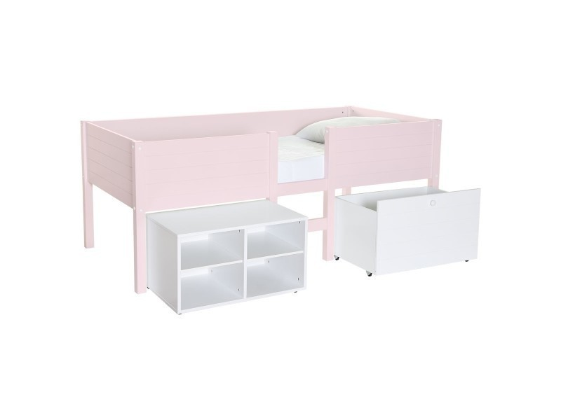 lit mi hauteur enfant avec rangement rose quartz lit. Black Bedroom Furniture Sets. Home Design Ideas