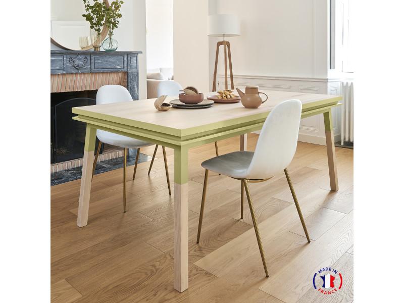 Table extensible bois massif 160x100 cm jaune lunaire - 100% fabrication française