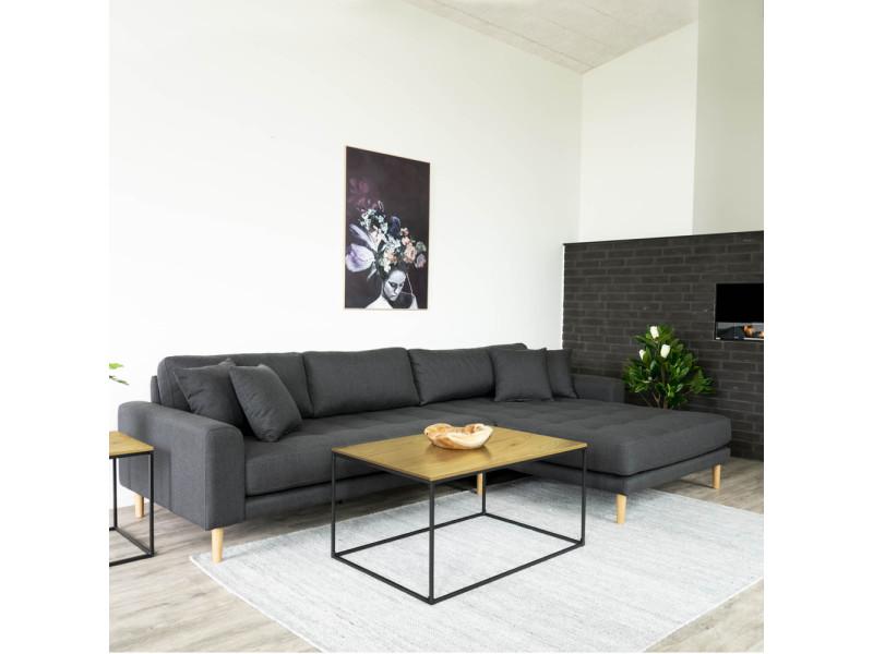Table basse - seaford - 90x60 cm - chêne / noir - style industriel