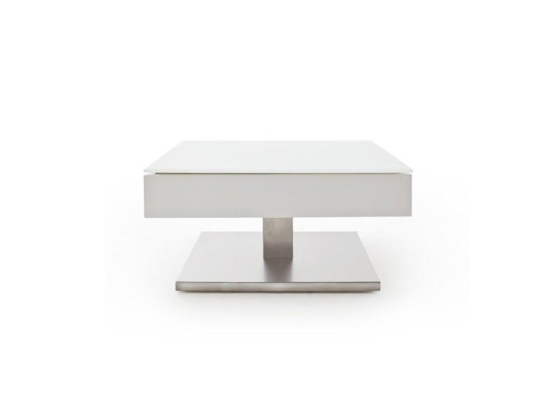 Table basse marseille laquée blanc mat plateau en verre trempé blanc mat 20100880065