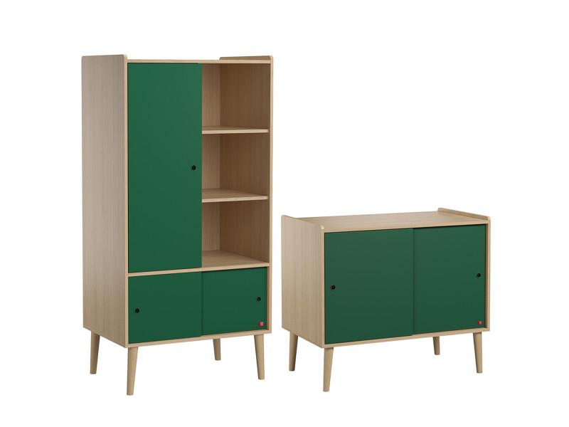Commode 2 portes coulissantes et armoire 1 porte retro - bois vert