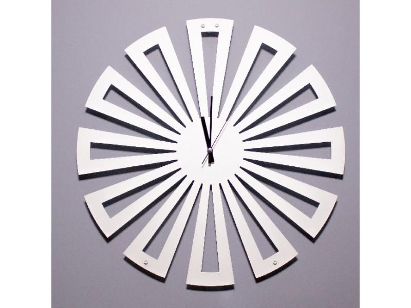 Homemania horloge de wall - rangement, livres - mur, salon, chambre - ensemble 2 blanc en métal, 50 x 0,15 x 50 cm