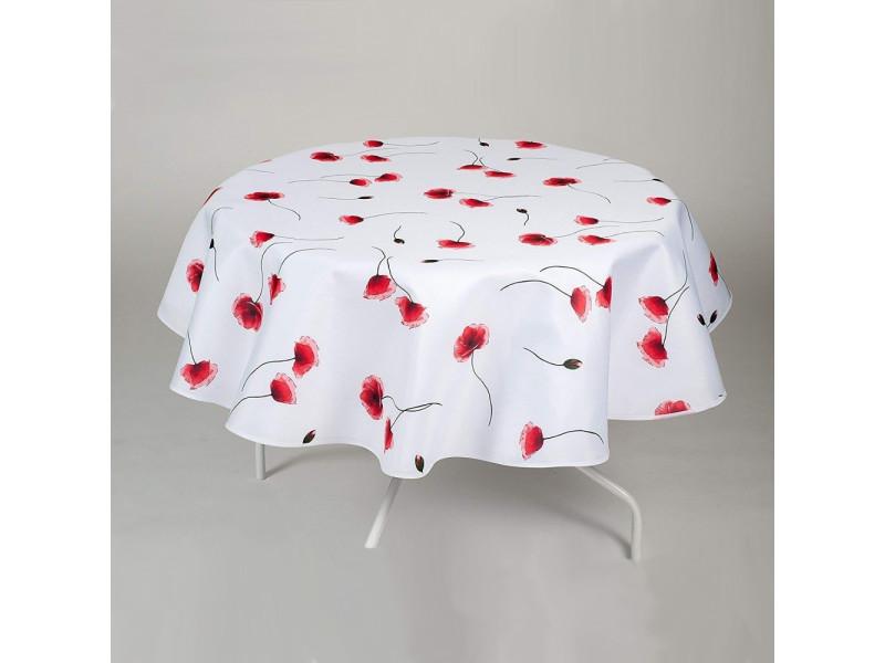 Nappe antitache ronde - infroissable et 100% polyester - ø 160 cm - 4/6 couverts - coquelicot - blanc - intérieur ou extérieur