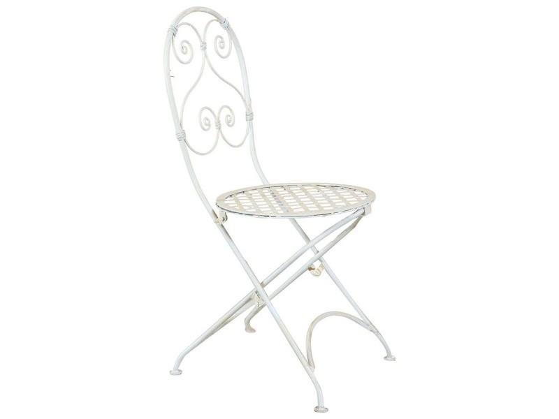 Chaise pliante complet de salle à manger de jardin d'extérieur en fer forgé finition blanche 40x45x94 cm