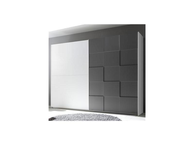 Armoire 275 cm design blanc et gris laqué tiavano