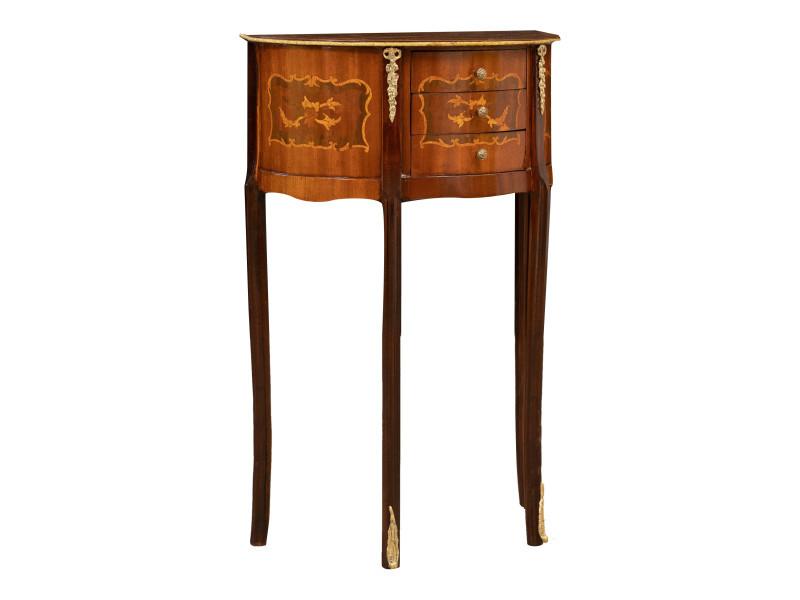 Table basse table console en placage de bois demi-lune finition noyer enrichie d'incrustations spéciales faites à la main