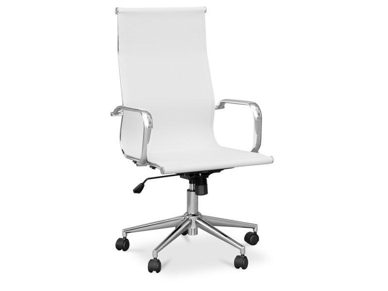 Chaise de bureau t9 maille et métal roues blanc vente de non
