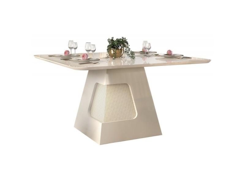 Table à manger 8 personnes carrée blanc