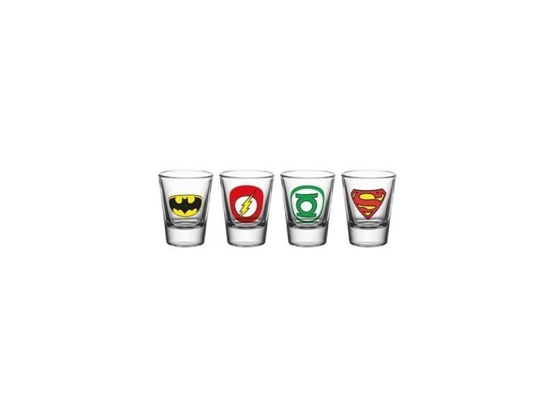 Dc comics - set 4 verres à liqueur logo mix GYE-GLA0005