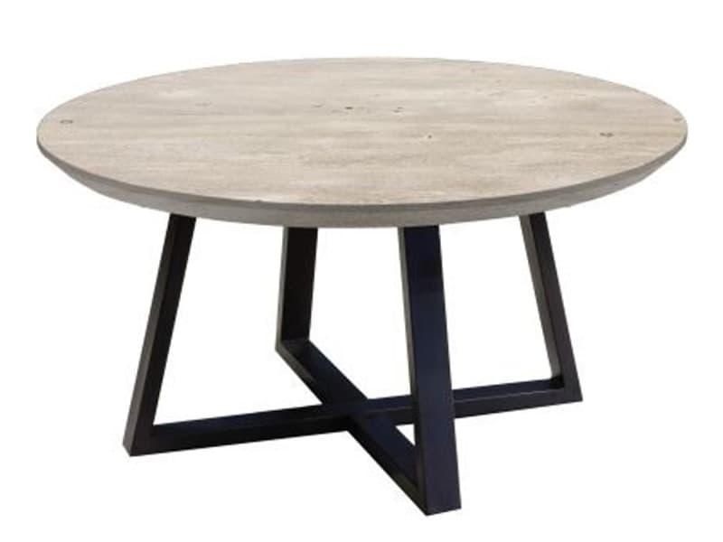 Table basse ronde en acacia massif gris - l.90 x h.45 x p.90 cm -pegane- PEGANE