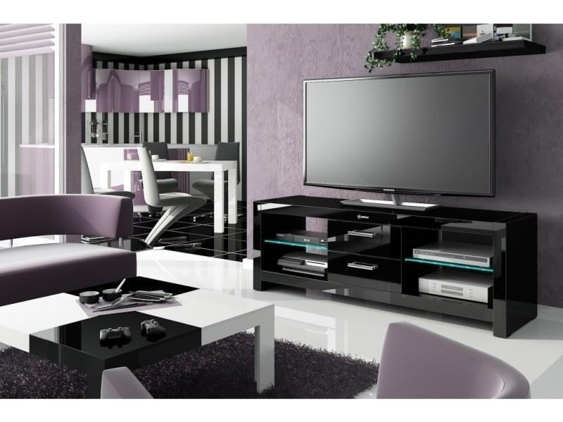 Meuble tv design led avec 2 tiroirs - noir laque