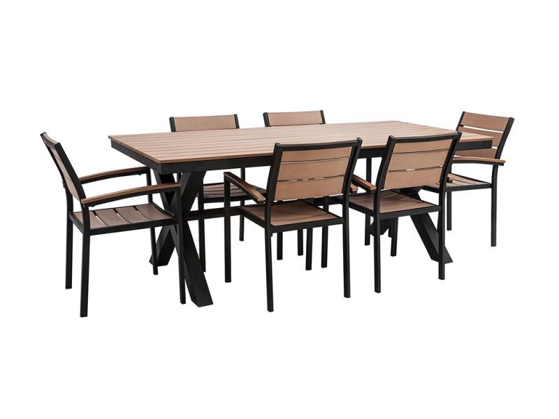 Salon de jardin avec table et 6 chaises noir et bois viaggio - Vente ...
