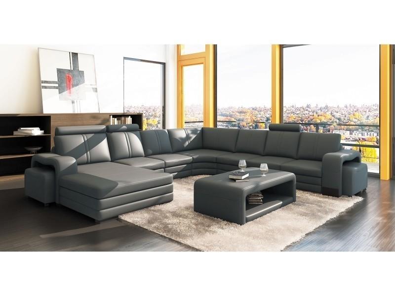 Canapé d'angle panoramique cuir gris 10 places havane (gauche)-