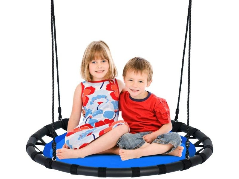 Giantex balançoire nid d'oiseau ronde ø100cm pour enfant hauteur réglable 100-160cm charge 150 kg avec cordes multicouches extérieur (bleu)