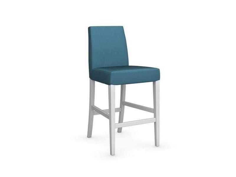 Chaise de bar latina piétement hêtre laqué blanc assise tissu aigue marine 20100839327