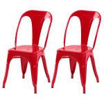 Chaise indus rouge (lot de 2)