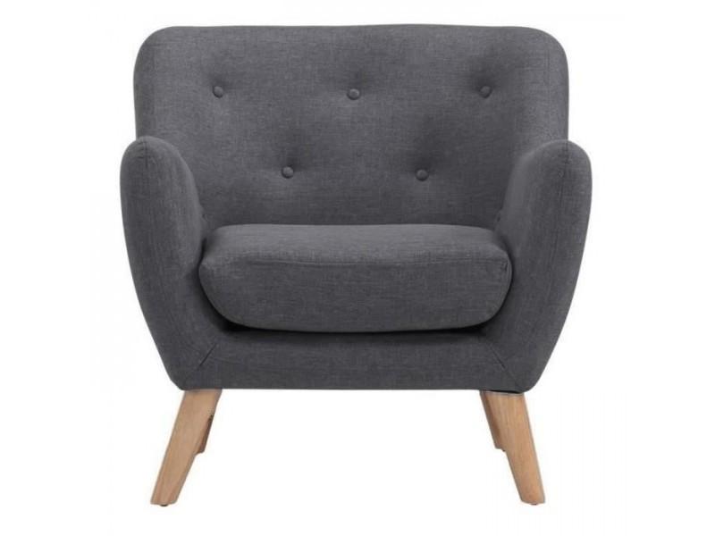 Scandi fauteuil scandinave en tissu chine - gris anthracite - l 79 x p 82 cm