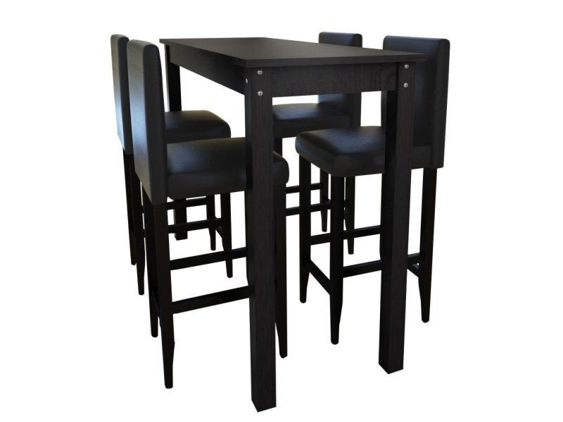 lot de 4 tabourets de bar avec table haute helloshop26. Black Bedroom Furniture Sets. Home Design Ideas