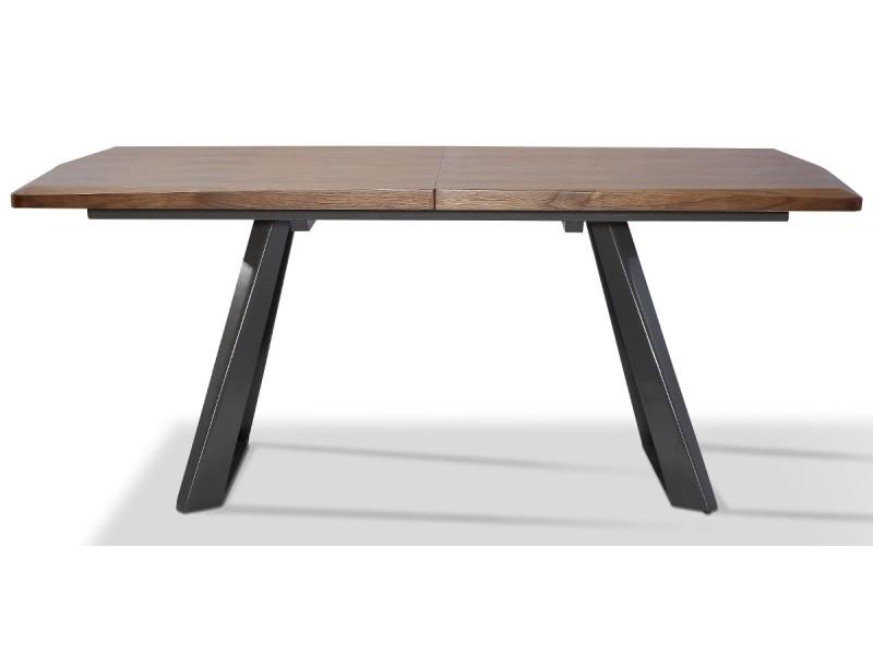 Table à manger extensible bois/laqué pune - noyer/gris - gris