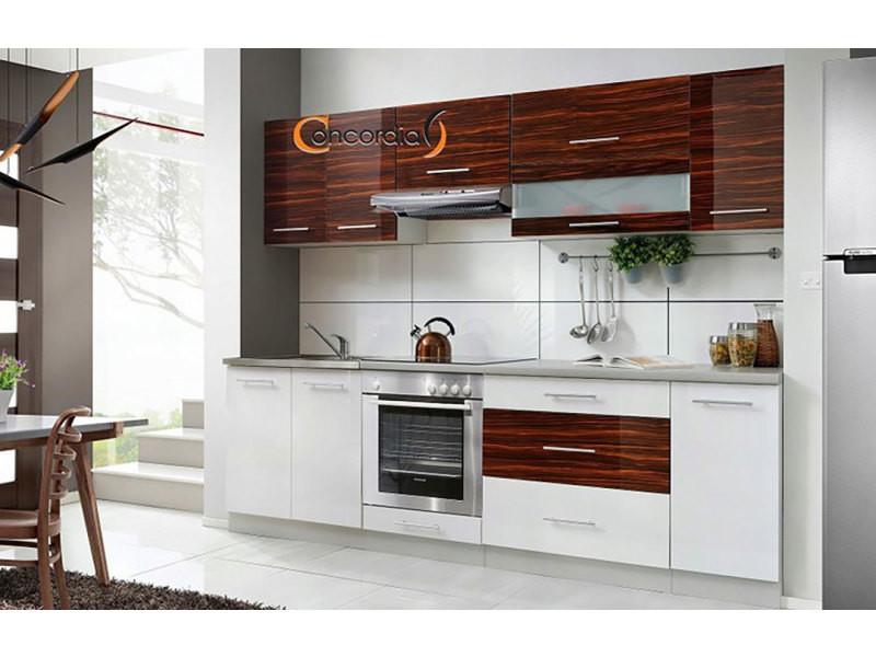 Elm 260 - cuisine complète l 2,6 m - 8 pcs / plan de travail inclus - ensemble meubles cuisine linéaire + armoire four encastrable - blanc/heban