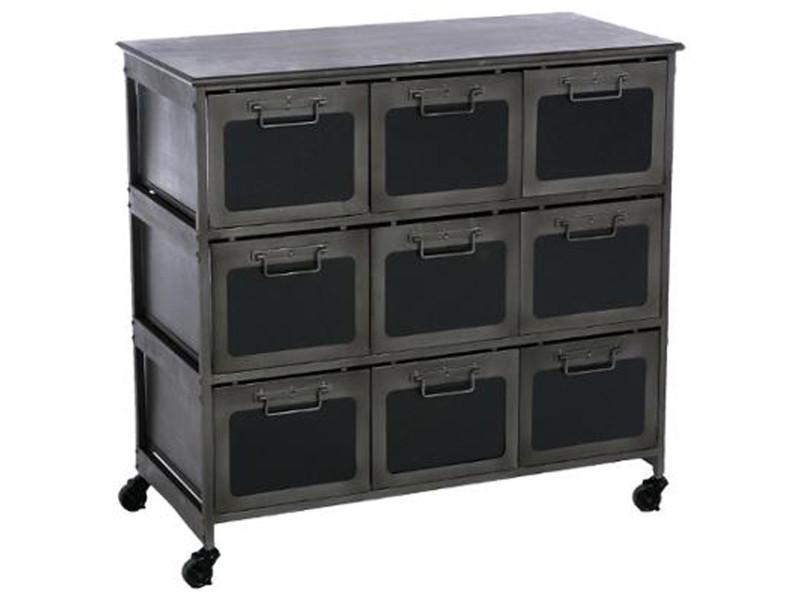 Commode de 9 tiroirs coloris noir en fer et mdf - dim : l89 x 40 x h86 cm - pegane - - Vente de ...
