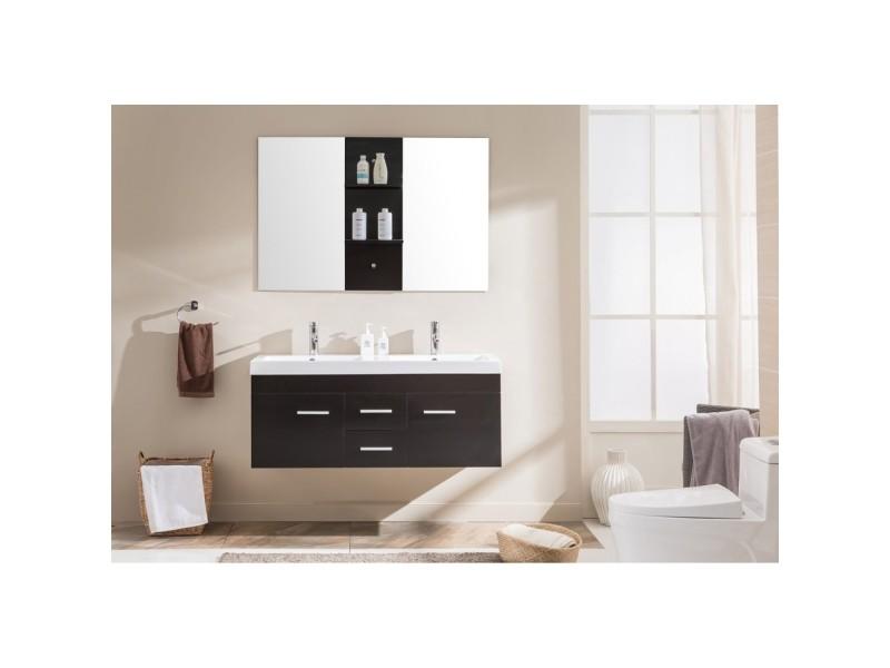 Le calypso wengé : ensemble meuble de salle de bain en chêne, 2 ...