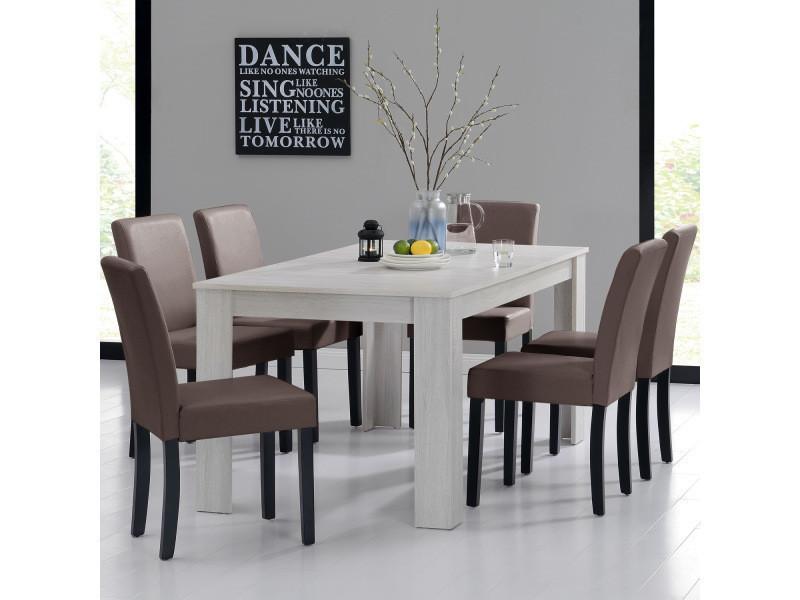 [en.casa] table et jeu de chaises 'oslo' (blanc - 160x90) 6 chaises (rembourrées - marron) - en pack économique