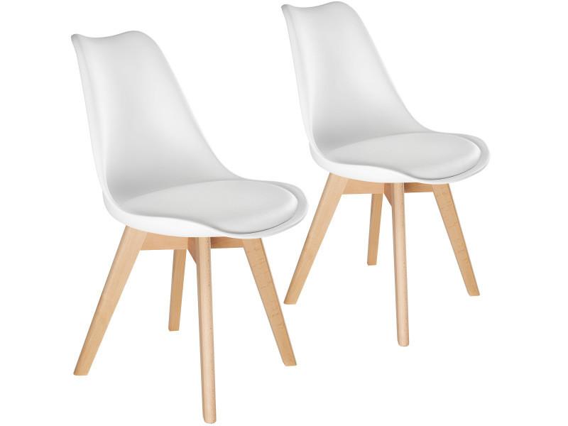 Tectake 2 chaises de salle à manger frédérique style scandinave pieds en bois massif design moderne - blanc 403810