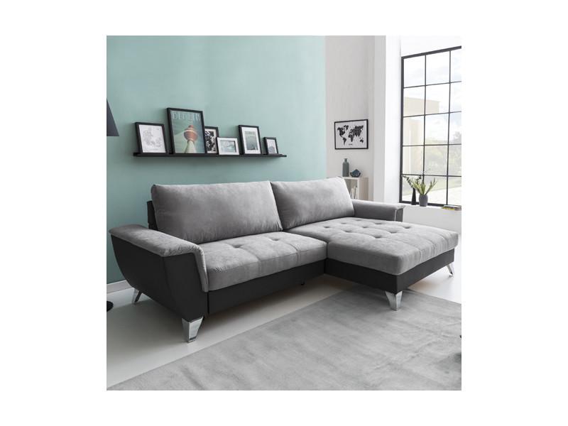 Canapé d'angle look coffre droit / gris clair-gris foncé