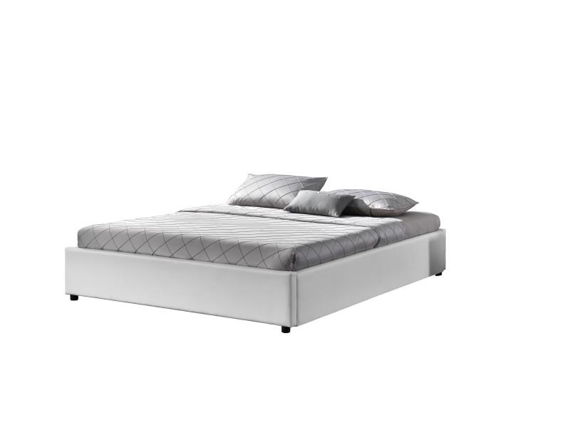 Podium blanc lit coffre 160x200 cm - Vente de Lit adulte - Conforama