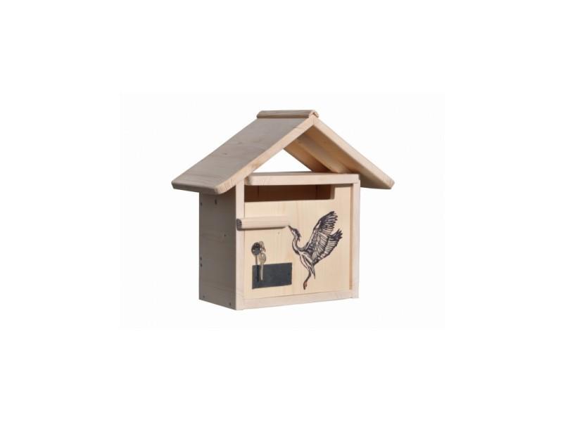 Boite aux lettres bois creastuce : heron courte