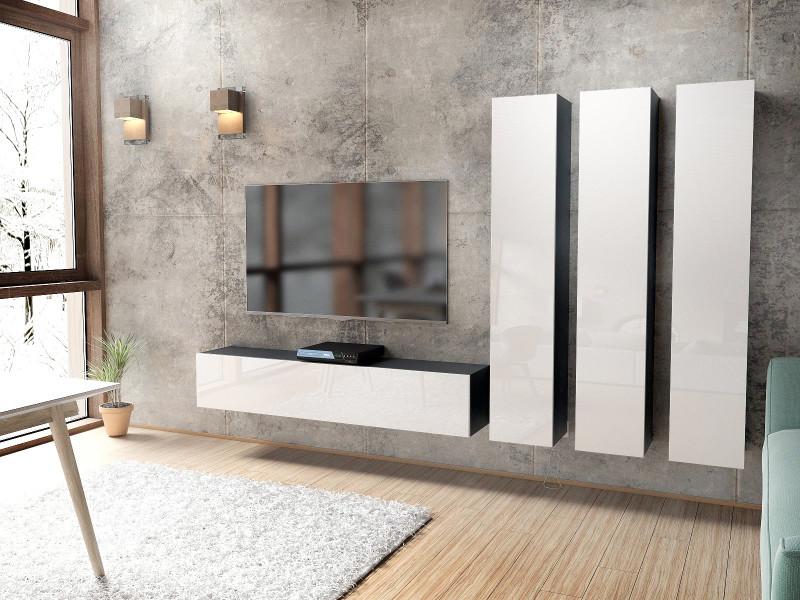 Ensemble de 4 meubles noirs mat façades laqués blanches