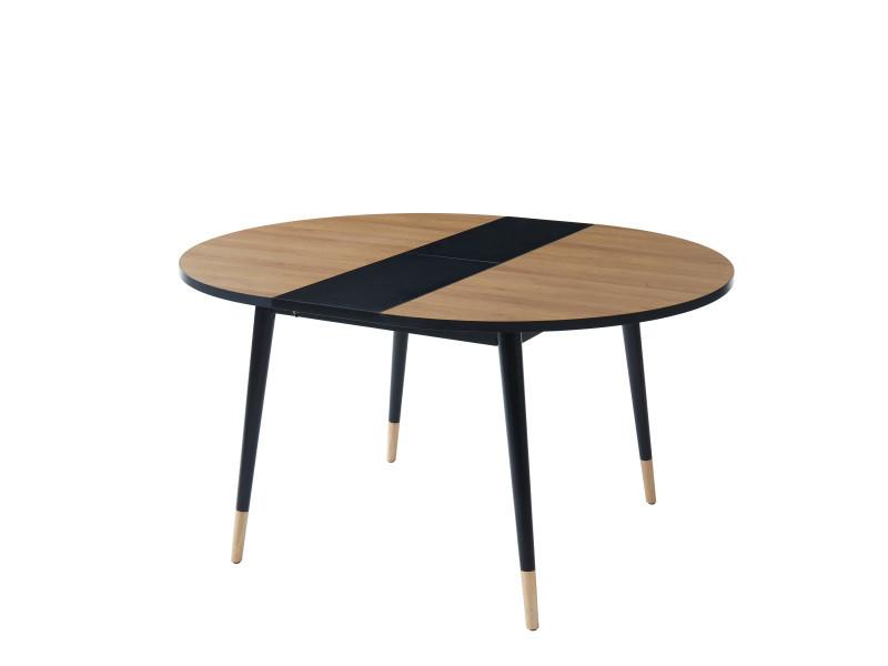 Table de séjour extensible cavallo - coloris bois et noir - l 120 cm