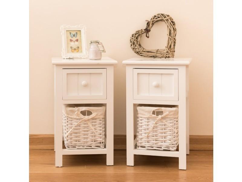 lot de 2 table de chevet style shabby chic blanc avec. Black Bedroom Furniture Sets. Home Design Ideas